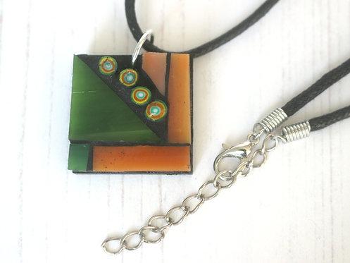Green and Orange Mosaic Pendant