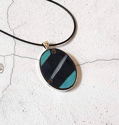 Blue and Teal Oval Mosaic Pendant