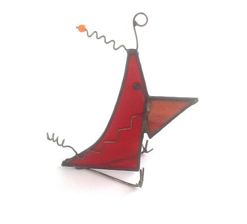 Red Stained Glass Wacky Bird with Orange Beak