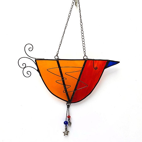 Red and Orange Hanging Glass Bird