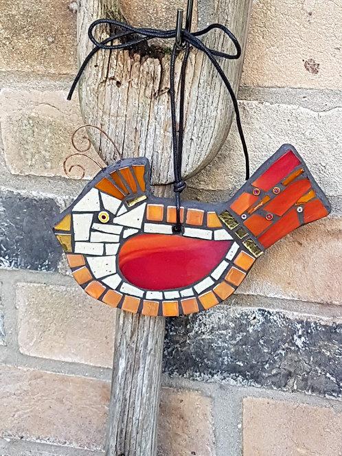 Red Mosaic Garden Bird Ornament