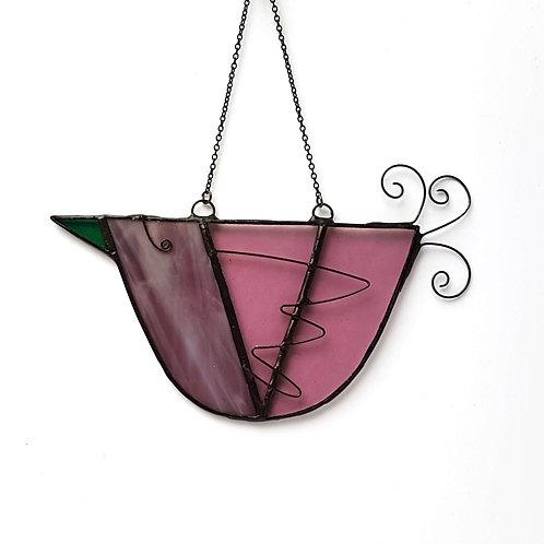 Purple Hanging Glass Bird