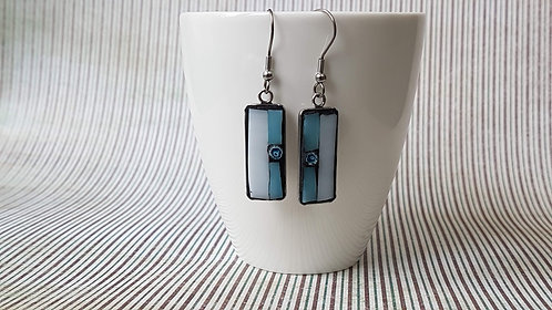 Pale Blue and White Mosaic Earrings