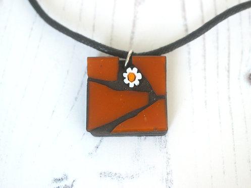 Orange Mosaic Pendant