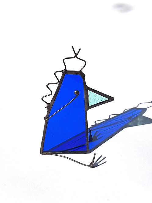 Royal Blue Stained Glass Bird