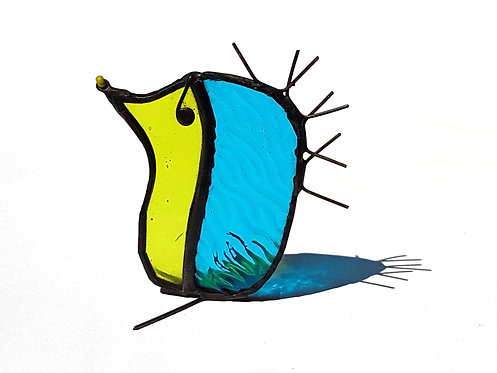 Teal Blue Stained Glass Hedgehog