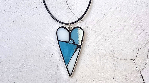 Pale Blue and White Heart Pendant