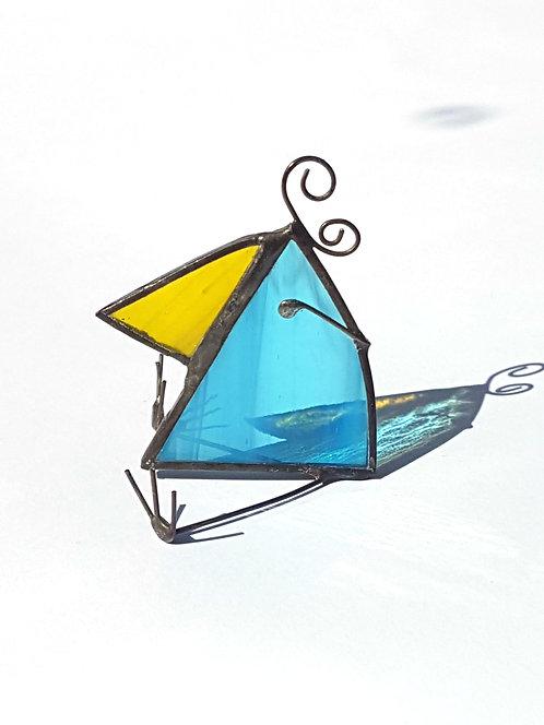Streaky Blue Stained Glass Bird