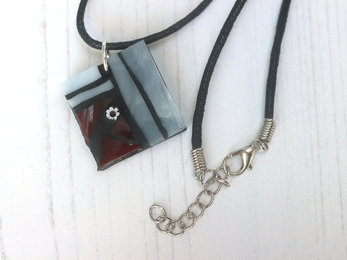 Wine Red and Grey Mosaic Pendant
