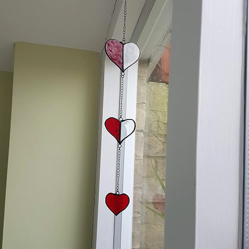 Hearts Stained Glass Suncatcher