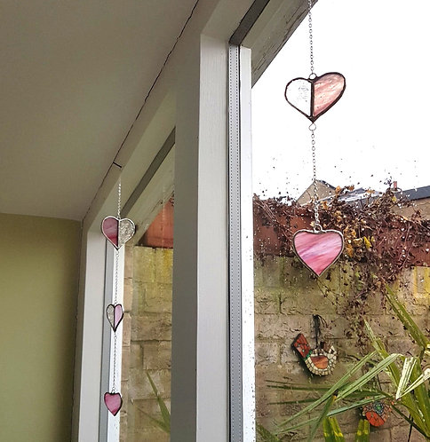 Pink Hearts Stained Glass Suncatcher