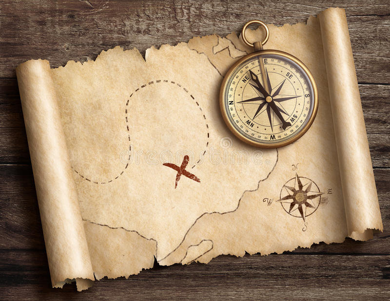 old-brass-nautical-compass-table-treasur