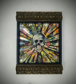 Smiling mirrored skull painting
