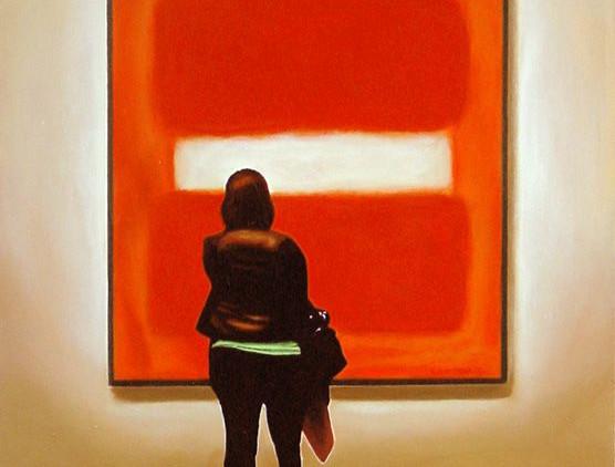 woman looking at Mark Rothko Getty Museu