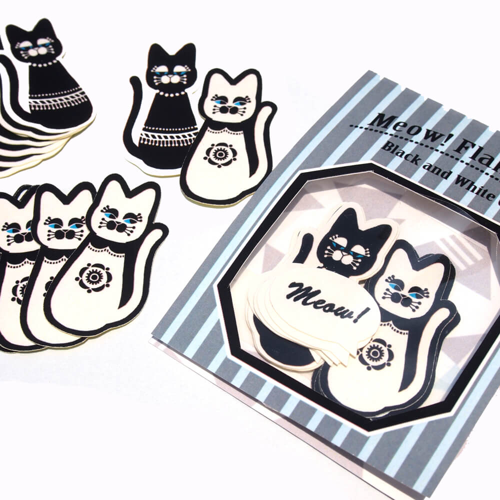 白黒猫のフレークシール