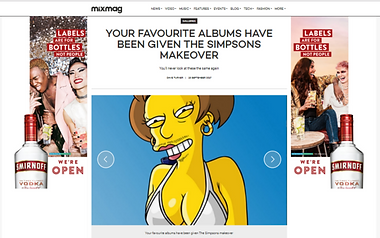 Artist J. King recreates classic electronic music album covers using characters from The Simpsons