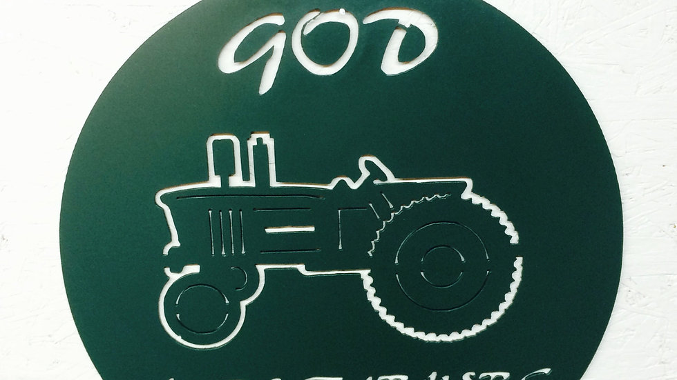 "15"" diameter painted in Green God Made Farmers"