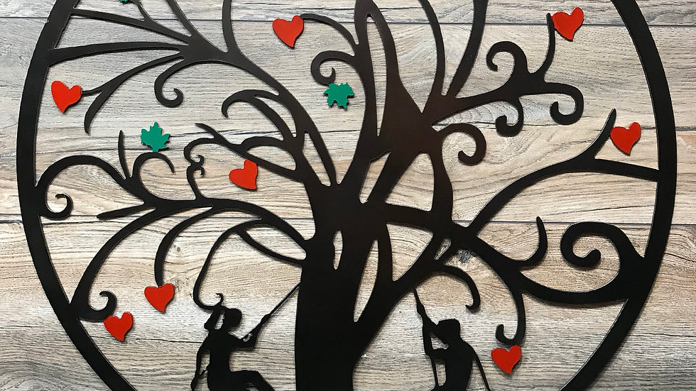 Tree with hearts and birds and tree climbers