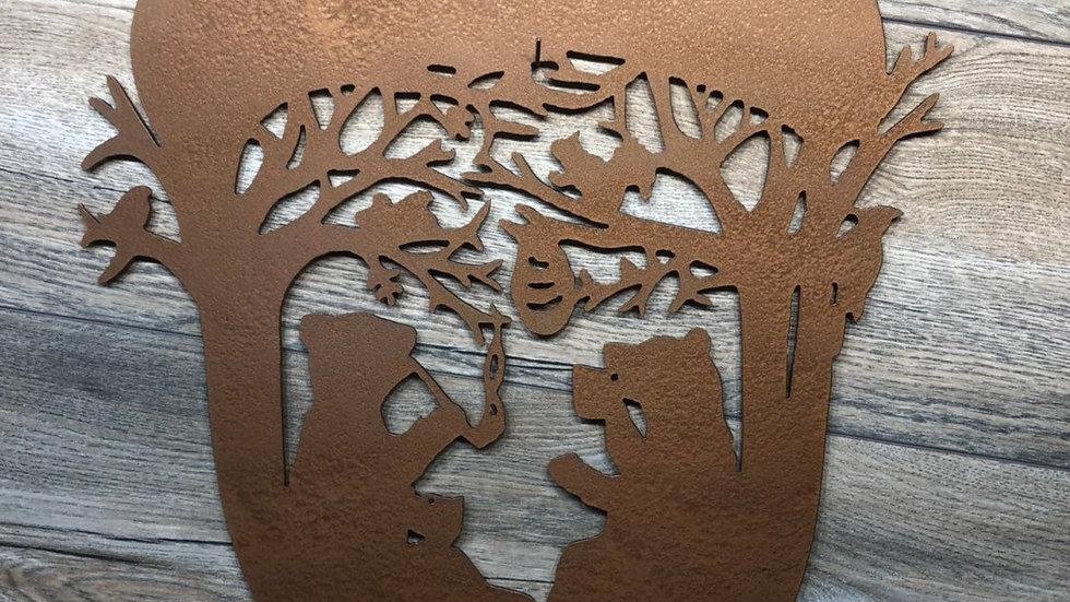 Bears in acorn scene wall art