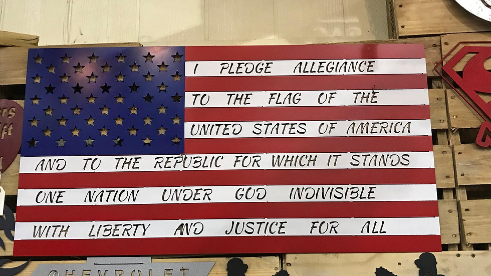 American flag with Pledge