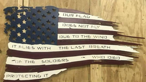 Tattered American Flag with slogan