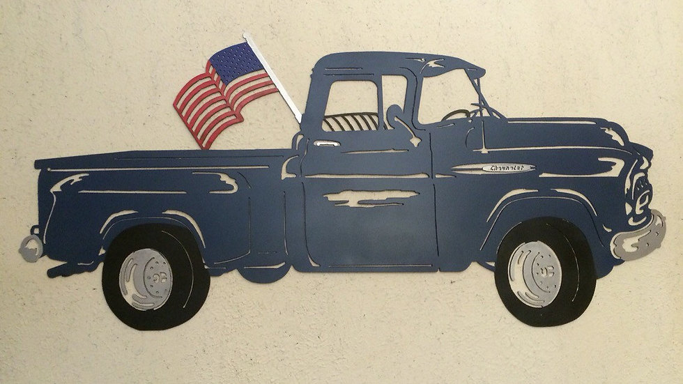 Old Chevrolet Truck with hand painted flag