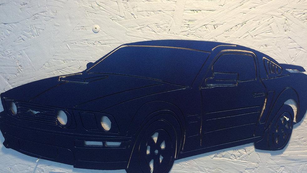 "Mustang in blue metallic 18.5"" x 9"""