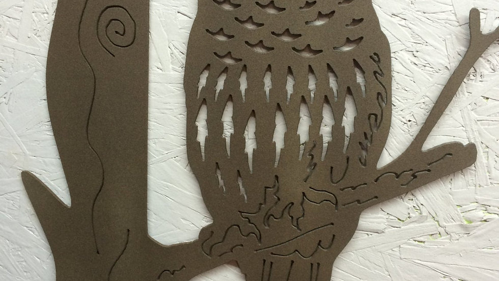 Owl on branch metal art