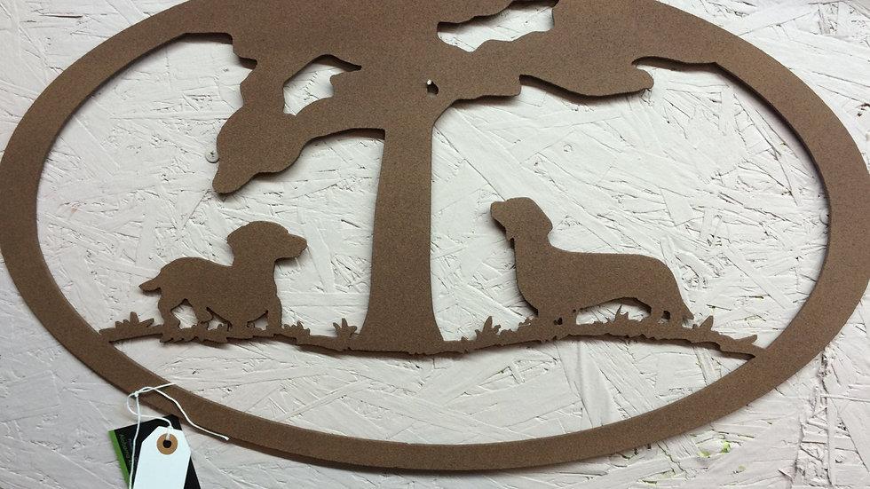 Dachshund metal wall art