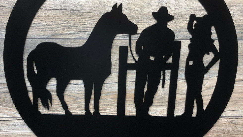 Cowgirl, Cowboy with horse scene