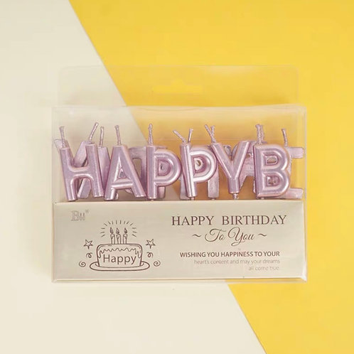 Pink gold happy birthday candles