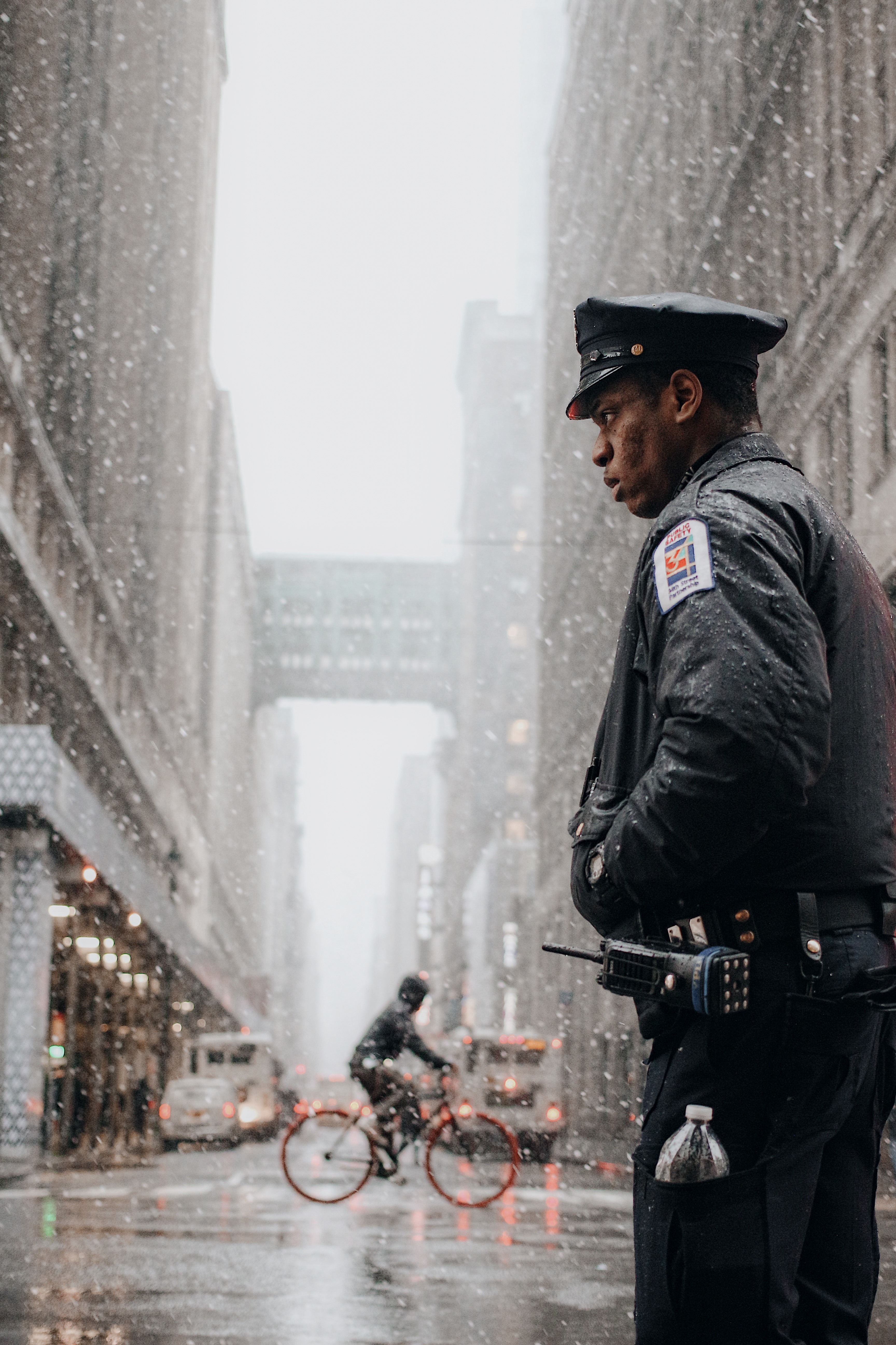 Police Officer In Snowstorm