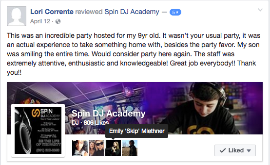 Spin DJ Birthday Party Reviews