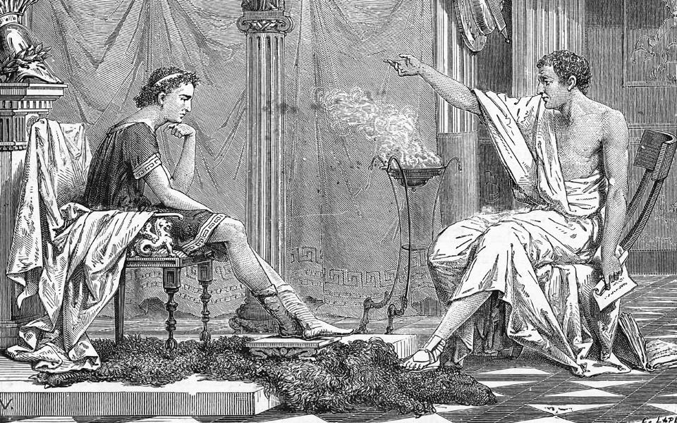 أرسطو مع تلميذه أسكندر الأكبر