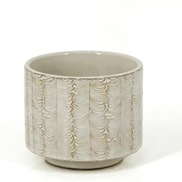 Small Feathered Ceramic Plant Pot / Vase