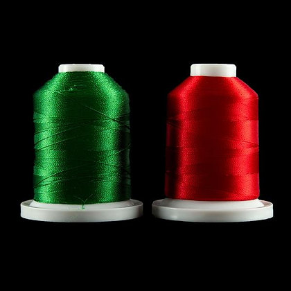 2 X 1100 Yards Robinson Anston Embroidery Threads - Red & Green