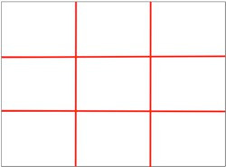 Here is a blank example of the rule of thirds to help you learn basic photography.