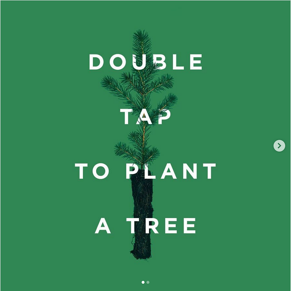 Tentree most sustainable post. Instagram: liking post plants trees in Indonesia. Double tap to plant a tree