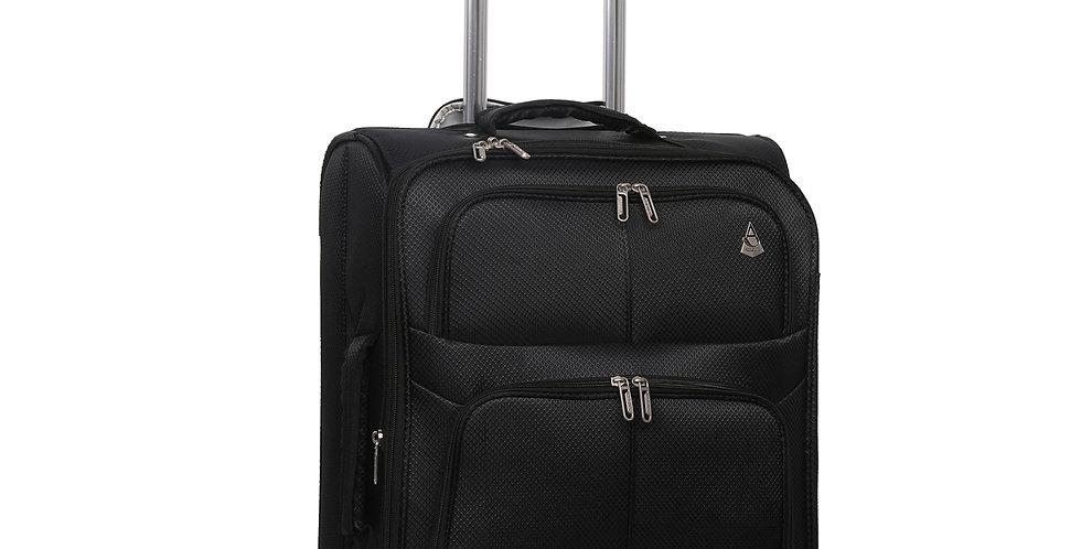 Aerolite   Black Travel Hand Luggage   55x40x20 + 3cm Expandable