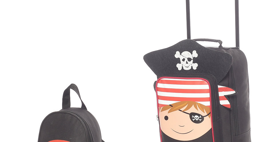 Pirate   Childrens Kids Carry on Luggage Trolley and Backpack Set