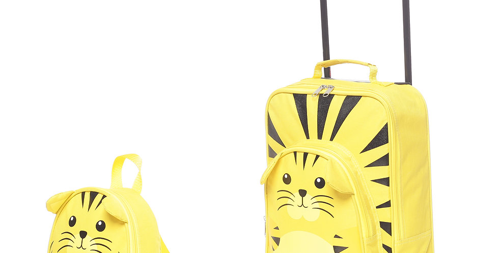 Tiger | Childrens Kids Carry on Travel Luggage Trolley and Backpack Set