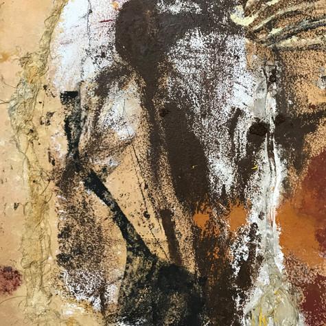 Giltza 80 cm x 103 cm Óleo, pigmentos y esparto sobre papel eskulan 2.800 €