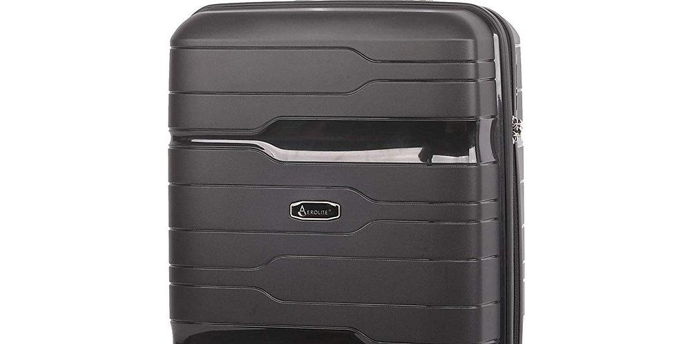 Aerolite PP772 Black | Premium Cabin Hand Luggage 8 Wheel TSA Lock | 55x40x20cm
