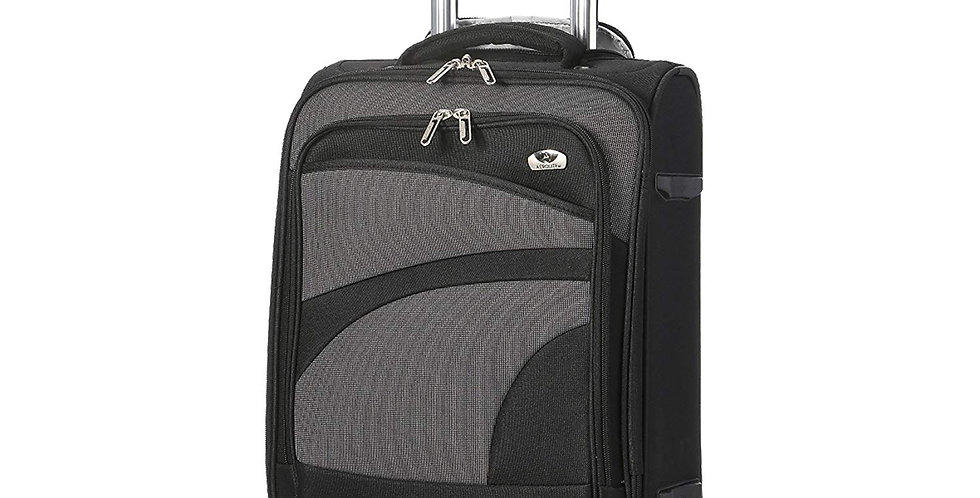 Aerolite | 9921 Black & Grey Soft Cabin Hand Luggage 4 Wheels | 55x35x20cm