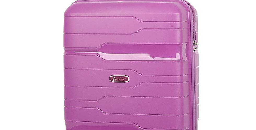 Aerolite PP772 | Premium Purple Hand Cabin Luggage 8 Wheel TSA Lock | 55x40x20cm