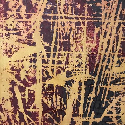 Arrasto gorri 84 cm x 109 cm Óleo y pigmentos sobre papel eskulan 2.500 €