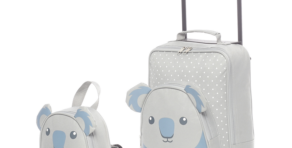 Koala | Childrens Kids Carry on Luggage Trolley & Backpack Set
