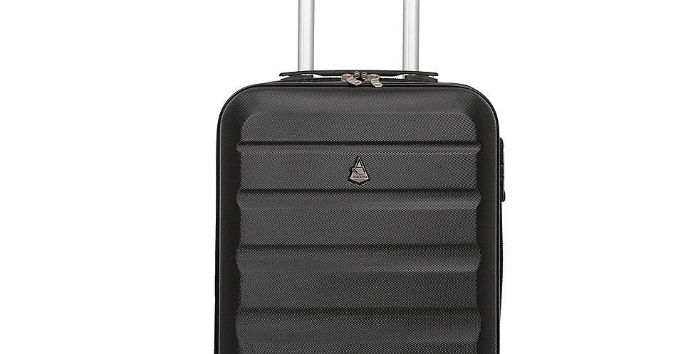 Aerolite | Black Lightweight Hard Shell 4-Wheel Hand Luggage | 55x35x20cm