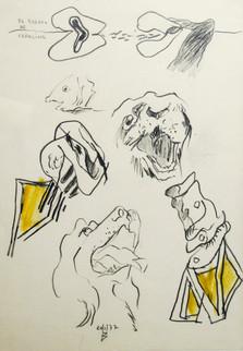 Autor: Bonifacio Título: El retrato de Carolina Año: 1977 Técnica mixta sobre papel Tamaño: 21 x 30 cm