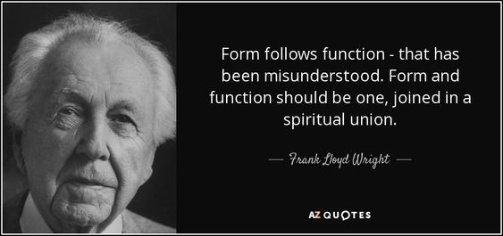 Form follows function - that has been misunderstood. Form and function should be one, joined in a spiritual union. - Frank Lloyd Wright